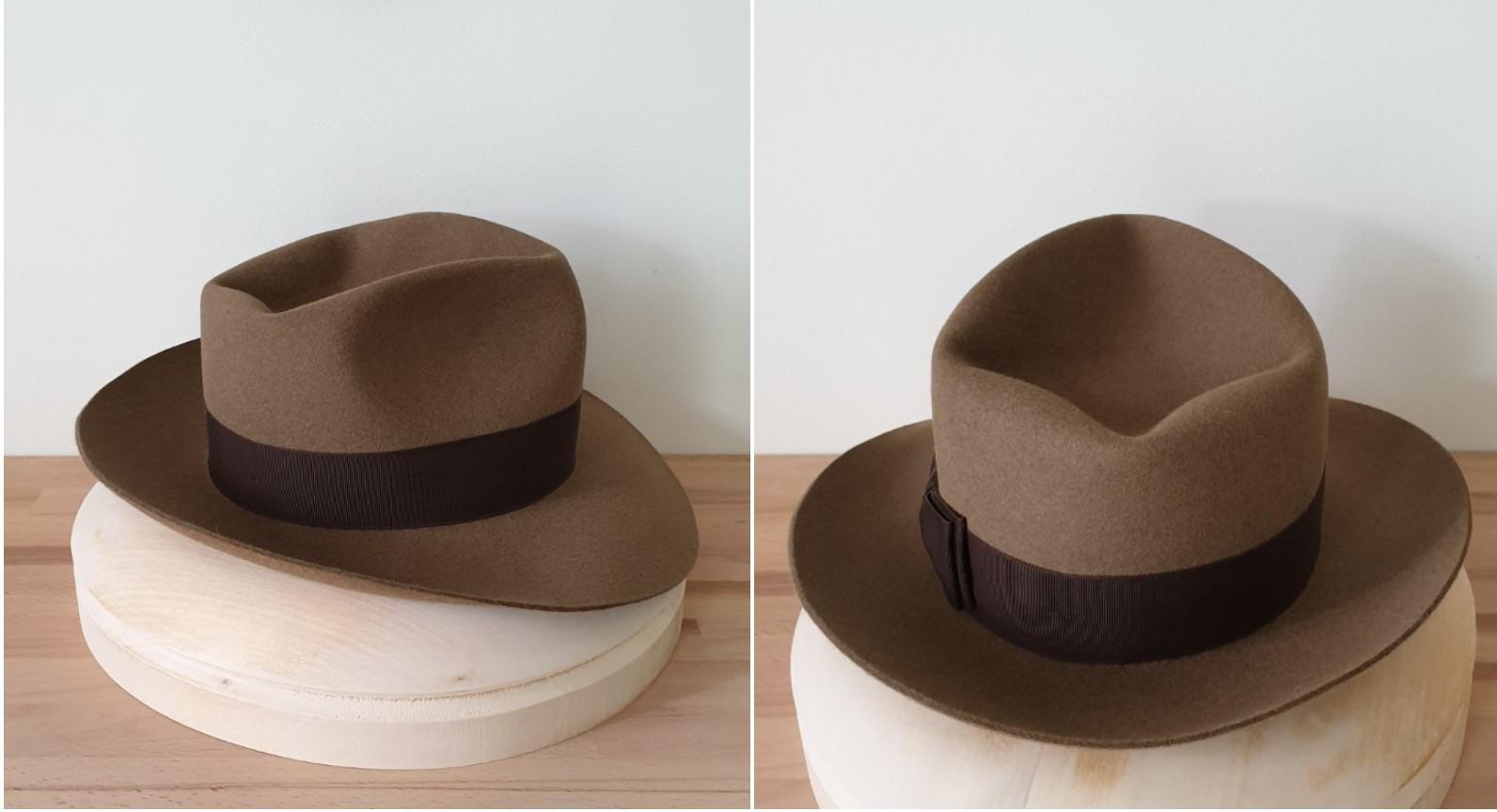 Ręcznie wykonany brązowy kapelusz fedora by LONG STORY SHORT