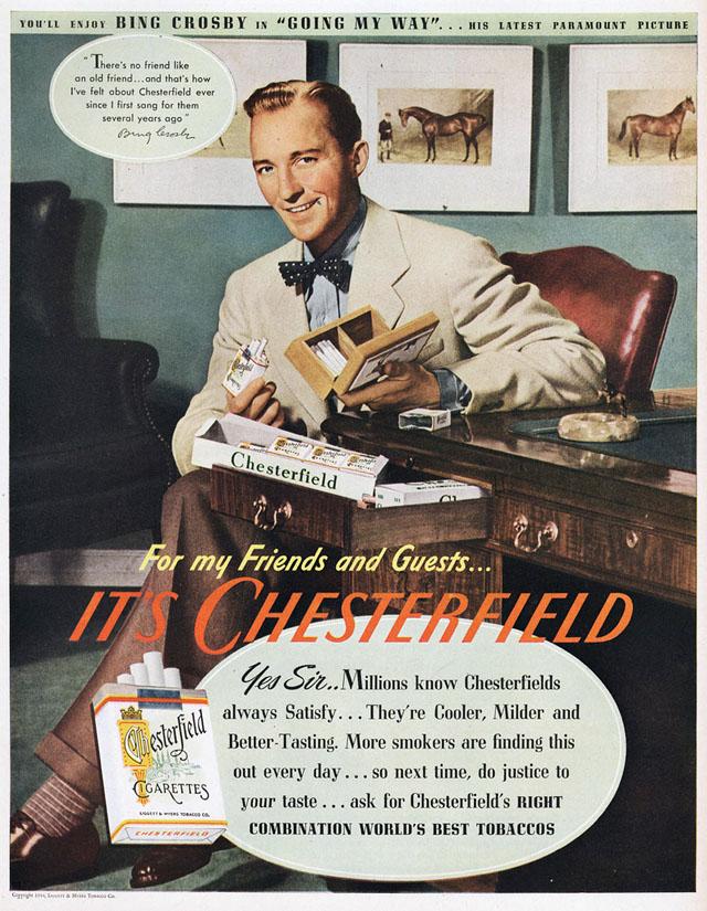 Bing Crosby, singer, vocal, piosenkarz, historia muzyki, radio, telewizja, white christmas, swing, jazz, amerykańskie standardy, legenda, Vintage Ads, Papierosy Chesterfield